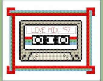 Buy 2, Get 1 Free...Coupon Code FREEPATTERN - Love Mix Cassette Tape Cross Stitch