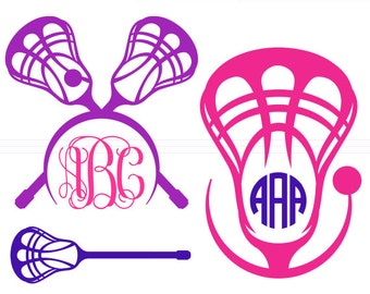 Lacrosse SVG Monogram Frames instant download cut file - svg, studio3, dxf, eps - Lacrosse Stick Cutting Files for Cricut, Silhouette Cameo