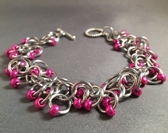 "7"" Chainmail Bracelet, Shaggy Loops Weave, Metallic Pink and Silver"