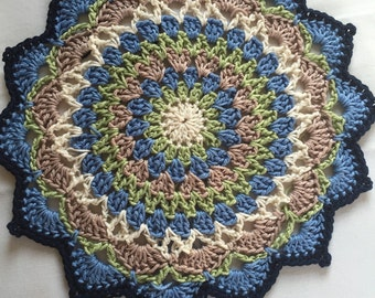 Decorative, colourful, versatile 25cm Crocheted Mandala