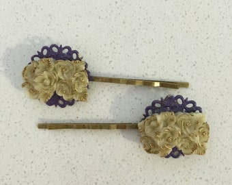 Set American Beauty Ivory andGold Flower Hairpins