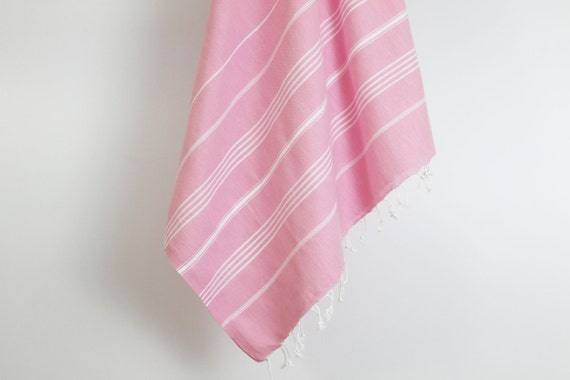 Bright Coloured Pink Turkish Towel Fouta Large Turkish Beach