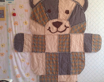 Large Rag quilt for Baby or child  - Teddy Bear