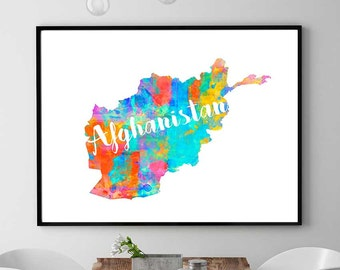 Afghanistan Map Print, Printable Map Of Afghanistan, Wall Art Map Decor, Watercolor Map Print, Afghanistan Gift, Instant Download