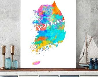 South Korea Map, South Korea Printable Map, Korean Wall Art Decor, Watercolor Map Print, Korean Gift, Instant Download South Korea Map