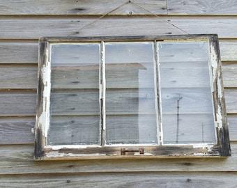33x23 3 Pane Vintage Window Sash Shabby Rustic Distressed