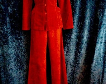 Burnt Orange Rust Micro Suade 1970s High Waisted Suit