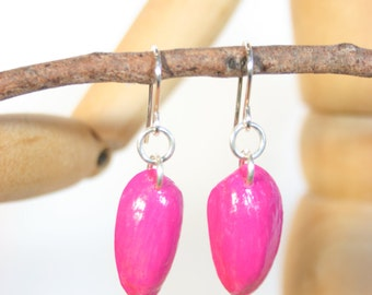 Hot pink drop earrings, hand made and painted from pistachio nut shells