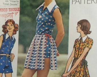 1972 Simplicity Sz 7/8 (bust 29, waist 23) Young Jr/Teen Short Jumpsuit and wrap skirt pattern, 9880