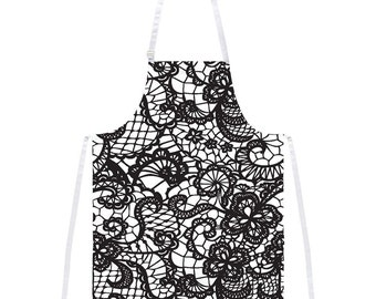 Black and White Lace Apron