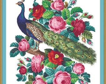 PEACOCK & ROSES - Berlin Woolwork Embroidery Pattern, Cross Stitch, Needlepoint pattern Digital – PDF instant download