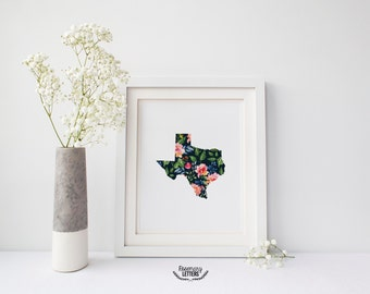 Custom State Floral Printable, 8x10 Printable, Digital Download