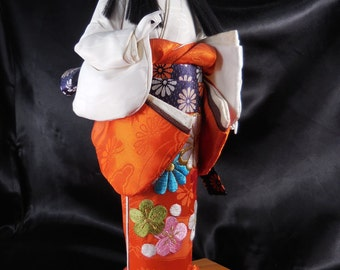 "Japanese Geisha Vintage Gofun Doll Oyama Ningyo Kimono 14"""