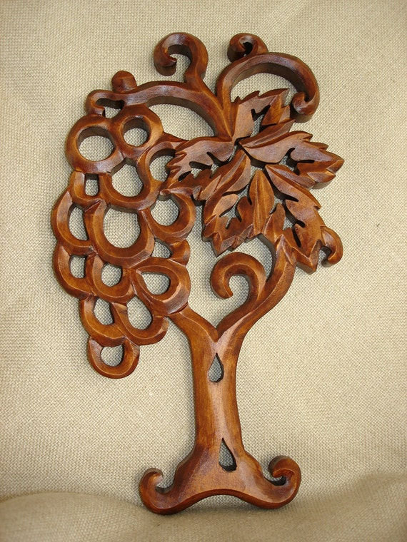 Abundance wood carving wall wooden grapes by artwood