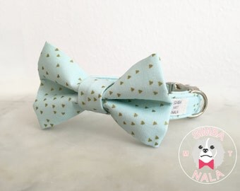 Gold and Turquoise Bow Tie Dog Collar/Triangle Pattern/Cute Bow Tie Dog Collar/ Wedding Gift/Summer/Pastel/Festive/Birthday