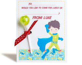 Play Date - Personalised Superhero Lollipop Notes - Pack of 3
