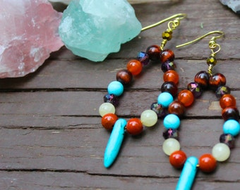 Boho Turquoise Earrings with Red and Yellow Jasper, Blue Howlite, Carnelian and Red Tigers Eye