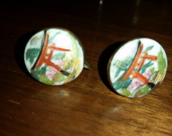 Vintage Small Enamel Screw Back Earrings