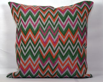 Zig zag geometric pillow covers 20x20 decorative pillow cases grey pillow cover decor green pink orange outdoor pillows 18x18 pillow cover
