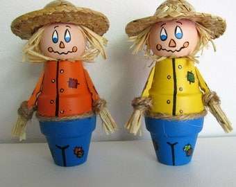 Hand-Painted Miniature Clay Pot shelf-sitter Figurines, Scarecrows, set of 2