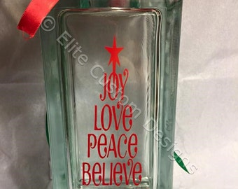 """3.5"""" by 7.5"""" Christmas Tree Words Glass Block"""
