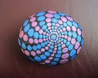 MANDALA STONE, Spiral Wheel of Life, meditation art, relaxation, colour therapy, healing stone, stress relief gift, Zen painted stone