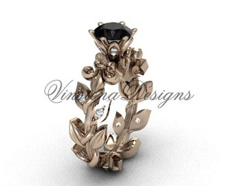 14kt rose gold diamond leaf and vine, Fleur de Lis,  Black Diamond engagement ring VD208124