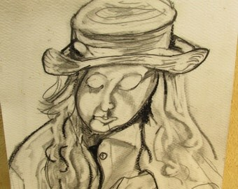 Young girl, pencil original on art paper.