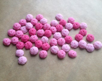 100 Edible fondant sugar Tiny Roses - Pink mix - Cupcake / Cake Toppers