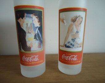 Set of 2 vintage collectors coca cola glasses