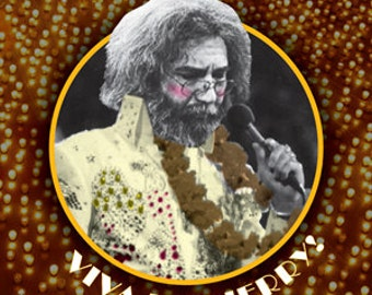 Viva Las Jerry! Sticker FREE SHIPPING!!! (Jerry Garcia Sticker, Elvis Presley Sticker, Grateful Dead Sticker, Las Vegas Sticker)