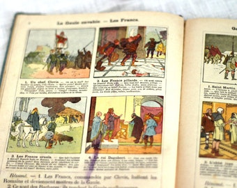 Vintage Picture book * French History Primary School 1920s Illustrated book