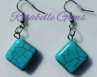 Turquoise Earrings, Gemstone Earrings, Dangle Earrings, Turquoise, Gemstone Earring, Turquoise Jewelry, Turquoise Gemstone, Gift For Her