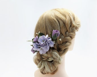 Purple Hydrangea Flower Hair Comb - Wedding Hair Bouquet - Paper Flowers - Bridesmaid Flowers