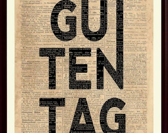 Guten Tag Print, German Greeting, Guten Tag Poster, Gift For German, German Home Decor, German Saying, German Wall Art
