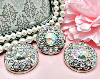 XLarge AB IRIDESCENT Rainbow Color Rhinestone Buttons Silver Acrylic Rhinestone Buttons Wedding Garment Coat Fashion Buttons 25mm 2923 14R