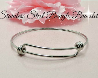 1 Stainless Steel Adjustable Bangle Bracelet Stainless Steel High Quality Unique Triple Loops #618