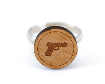Pistol Ring, Wooden Ring, Gift For Him or Her, Wedding Gifts, Groomsman Gifts, and Personalized