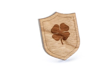 Four Leaf Clover Lapel Pin, Wooden Pin, Wooden Lapel, Gift For Him or Her, Wedding Gifts, Groomsman Gifts, and Personalized