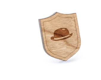 Bowler Hat Lapel Pin, Wooden Pin, Wooden Lapel, Gift For Him or Her, Wedding Gifts, Groomsman Gifts, and Personalized