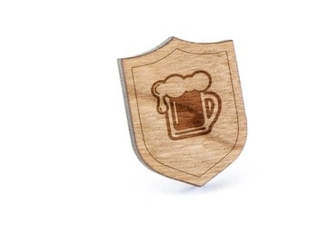 Beer Pint Lapel Pin, Wooden Pin, Wooden Lapel, Gift For Him or Her, Wedding Gifts, Groomsman Gifts, and Personalized