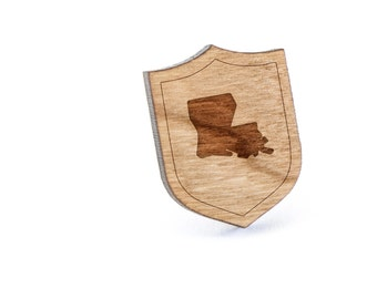 Louisiana Lapel Pin, Wooden Pin, Wooden Lapel, Gift For Him or Her, Wedding Gifts, Groomsman Gifts, and Personalized