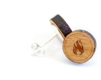 Flame Stud Earring, Wooden Earring, Gift For Him or Her, Wedding Gifts, Groomsman Gifts, Bridesmaid Gifts, and Personalized