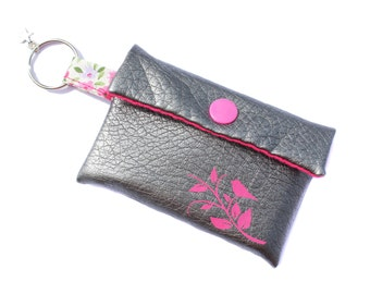 card small leatherette case pink and silver bird