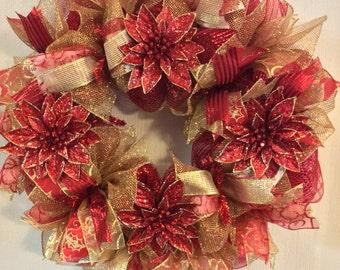 Poinsettia Wreath-Holiday Wreath-Merry Christmas Wreath-Christmas Wreath-Mesh Wreath