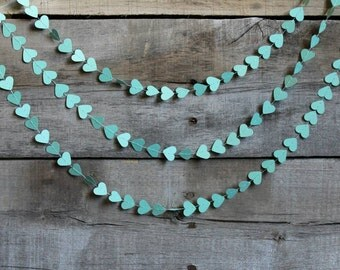 Teal Paper Heart Garland, Aqua Wedding Decoration, Mint Bachelorette Party Decor, Hearts Gift Wrap, Blue Baby Shower Bunting, Green Banner