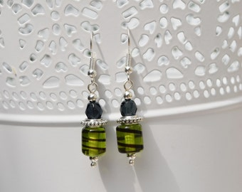 Navy and green beaded earrings