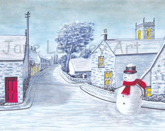 Snow at Badsworth : Original artwork in pen and pastel, A4 size