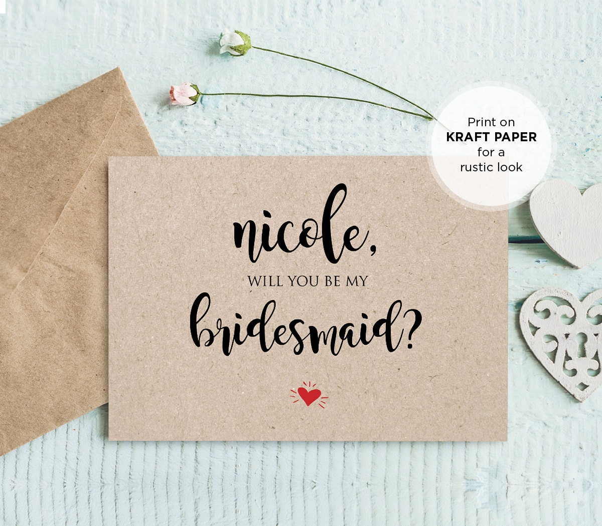 Will You Be My Bridesmaid Printable Card, DIY Ask to be Bridesmaid ...