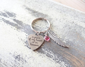 A Piece of my heart is in Heaven Keychain, Memorial Keychain, Angel Wing, Memorial jewelry, Heart Keychain, Sympathy Gift